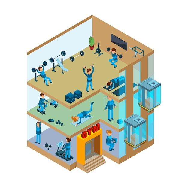 Fitnessruimte interieur. gym sportclub met klassen voor oefeningen en isometrische gezondheidsmassage Premium Vector