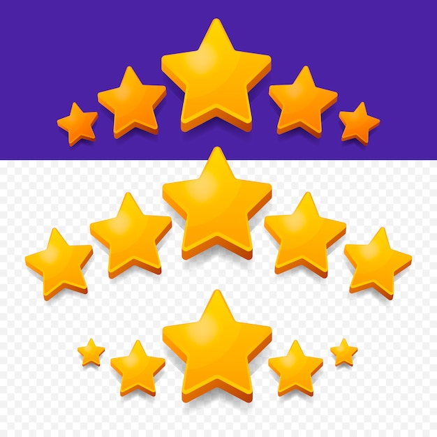 Five stars rating goud. Premium Vector