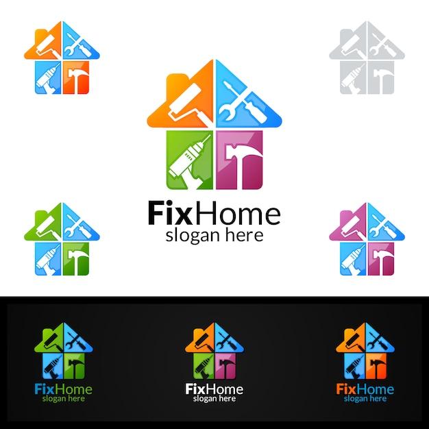 Fix home logo Premium Vector