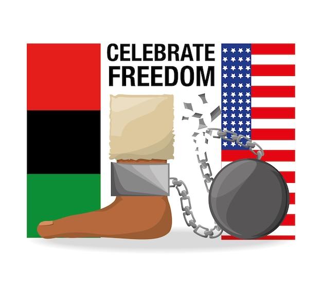 Flah en ketting in de voet om vrijheid te vieren Premium Vector