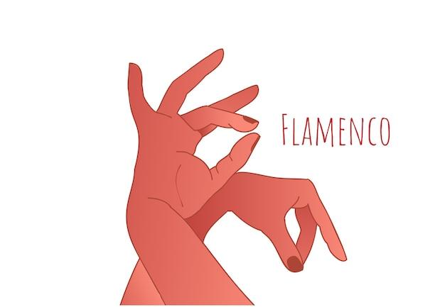 Flamencodans concept. mooie sierlijke handen van danseres. spaanse cultuur. Premium Vector