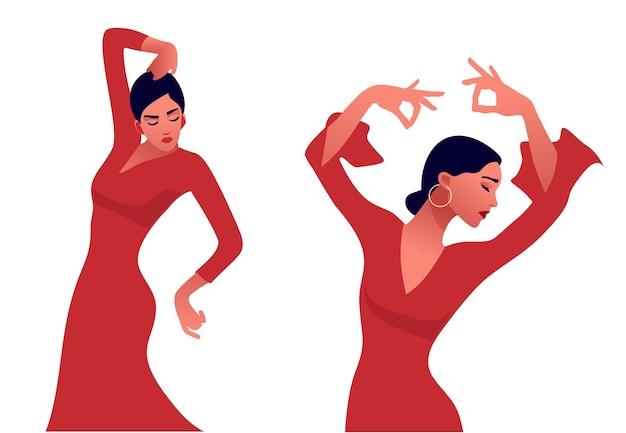 Flamencodanseres. mooie sierlijke vrouw dansen. spaanse cultuur. Premium Vector