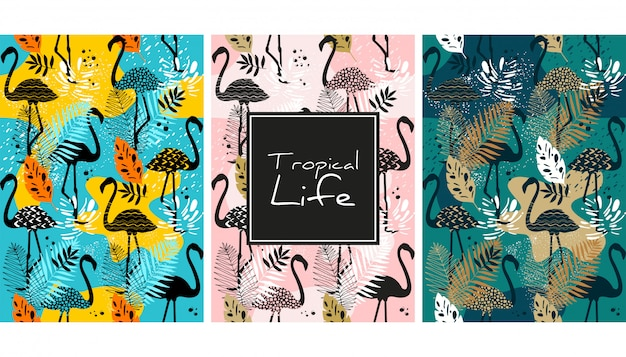 Flamingo en bladeren naadloos patroon Premium Vector