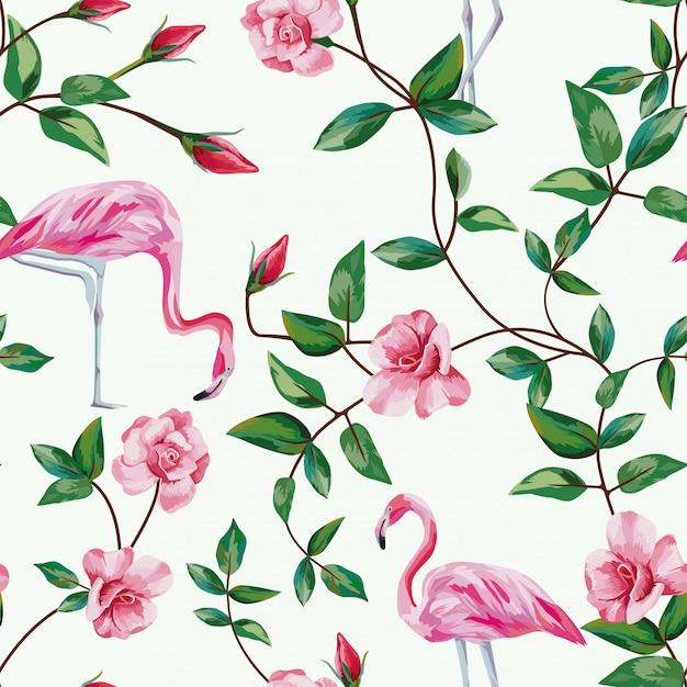 Flamingo en tak rozen naadloze patroon behang Premium Vector
