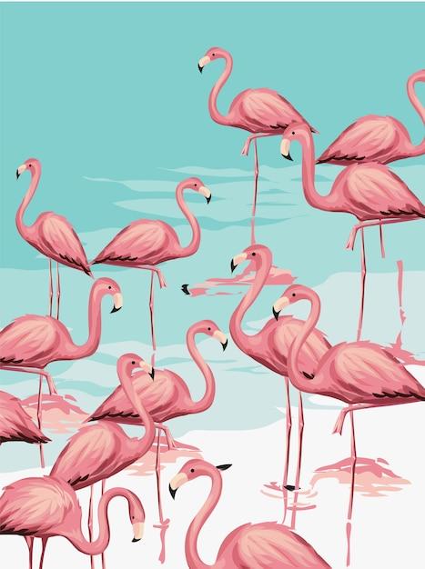 Flamingo kudde op het strand illustratie Premium Vector