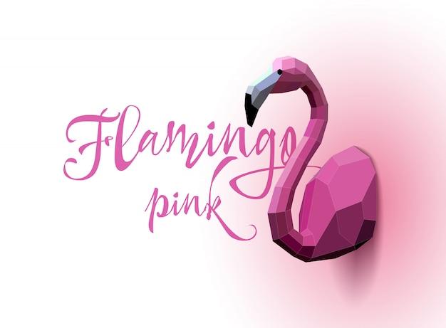 Flamingo laag poly. driehoek kunst. vector Premium Vector