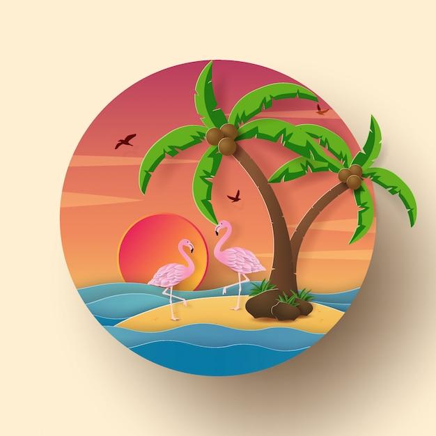 Flamingo op het eiland met zonsondergang Premium Vector