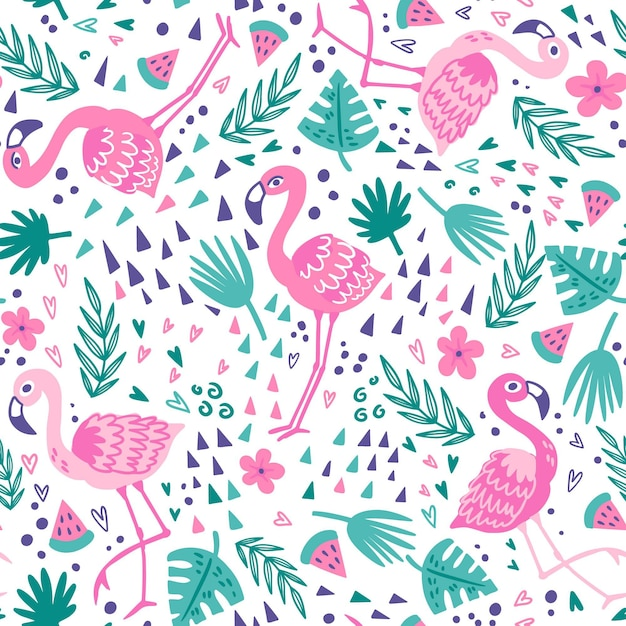 Flamingo patroon collectie Gratis Vector