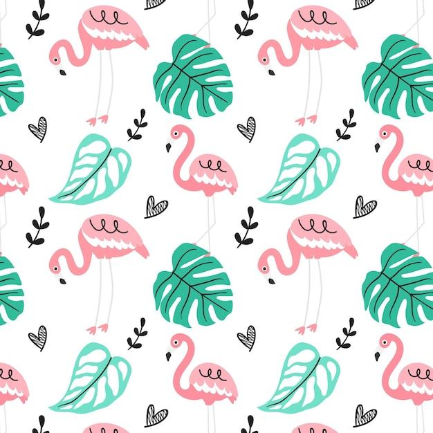 Flamingo patroon met bladeren Gratis Vector