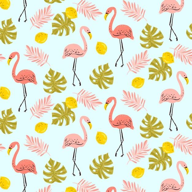 Flamingo patroon met tropische bladeren Gratis Vector