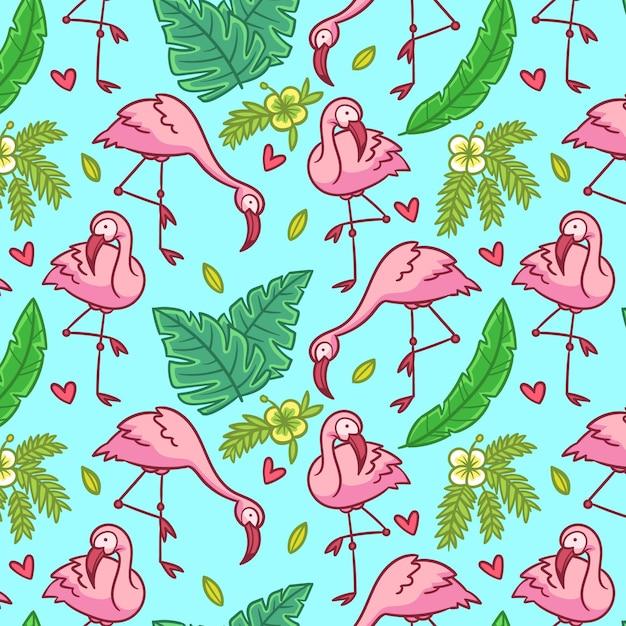 Flamingo patroon ontwerp Gratis Vector