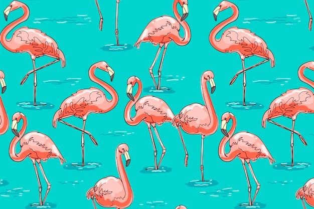 Flamingo patroon Gratis Vector
