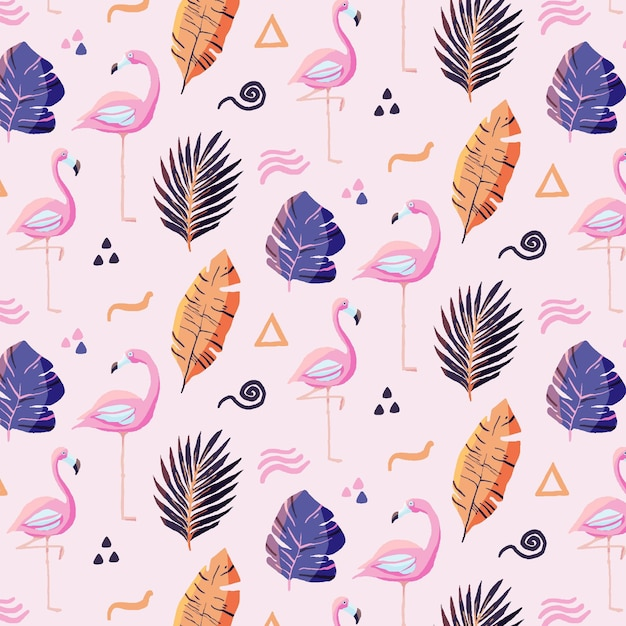 Flamingo patroon Gratis Vector