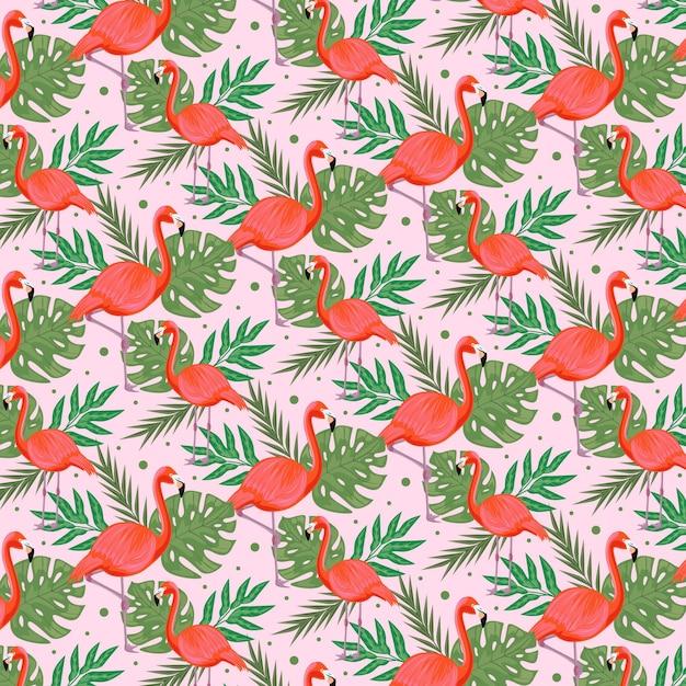 Flamingo patroonpakket thema Gratis Vector