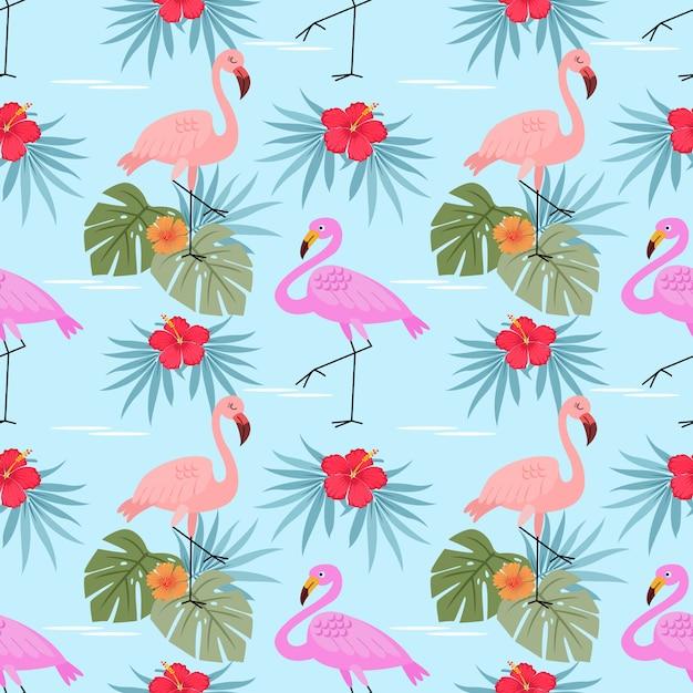 Flamingo's met hibiscus bloemen en bladeren naadloze patroon. Premium Vector