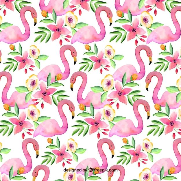 Flamingo's patroon in aquarel stijl Gratis Vector