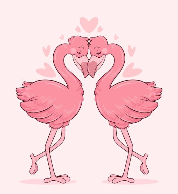 Flamingo's verliefd op elkaar met hun hoofden aan te raken Gratis Vector