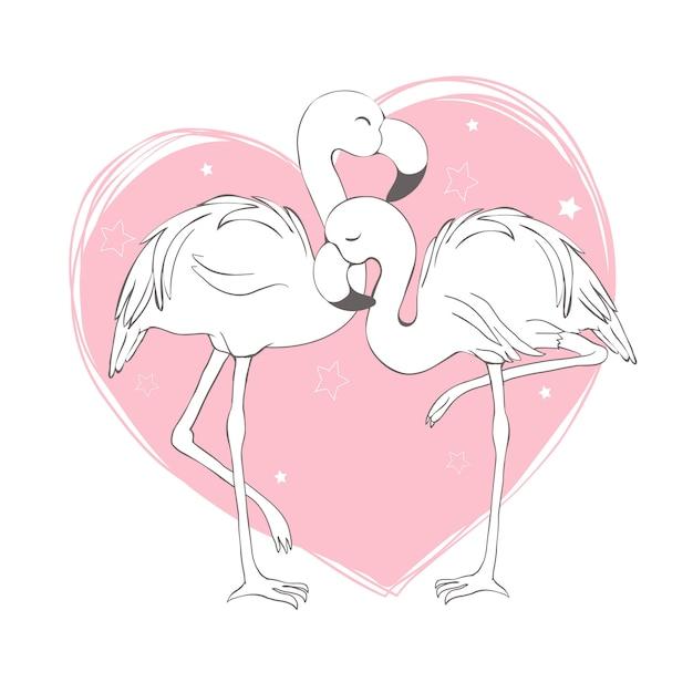 Flamingo vogel patroon Premium Vector