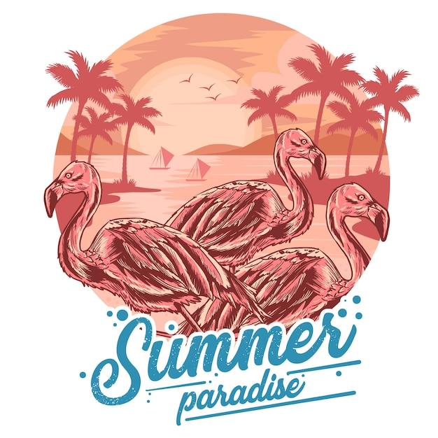 Flamingo zomerstrand en kokosnoot boom bekijken zonsondergang vector voor element en t-shirt kunstwerk Premium Vector