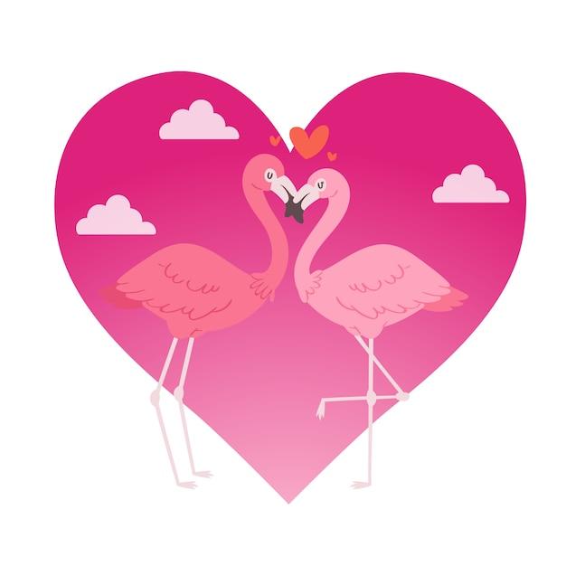 Flamingopaar in de karakters van dierenliefhebbers van het liefdebeeldverhaal op roze hart Premium Vector