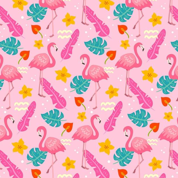Flamingopatroon met tropische bladeren Gratis Vector