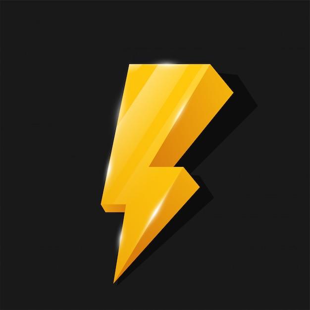 Flash 3d-pictogram geel bliksemthema Premium Vector