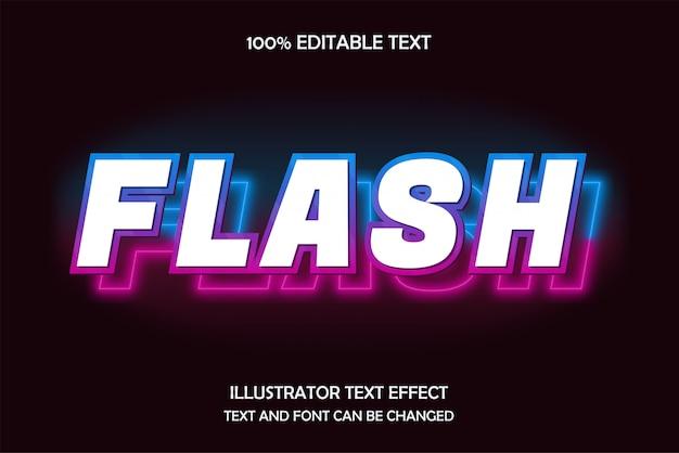 Flash, bewerkbaar teksteffect, blauw roze neonstijl Premium Vector
