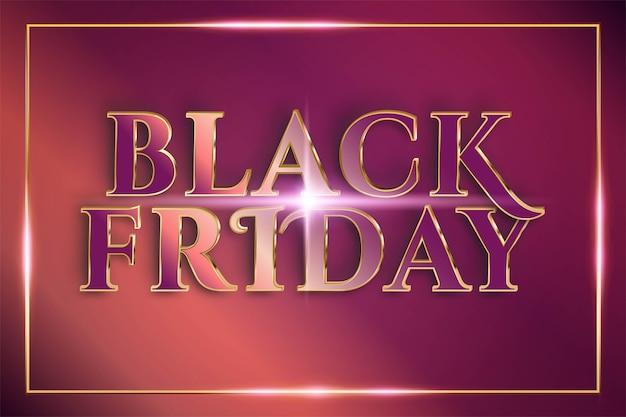 Flash sale black friday met effect thema metaal koper goud kleur concept Premium Vector