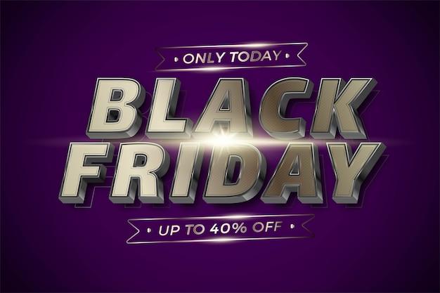 Flash sale black friday met effect thema metaal zilver goudkleur Premium Vector