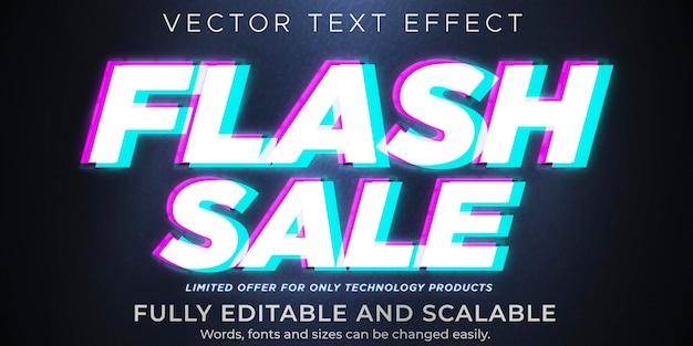 Flash sale-tekst op glitch-effect, bewerkbare korting en aanbiedingstekststijl Premium Vector