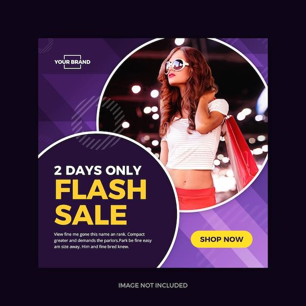 Flash sale violet instagram promo social media Premium Vector