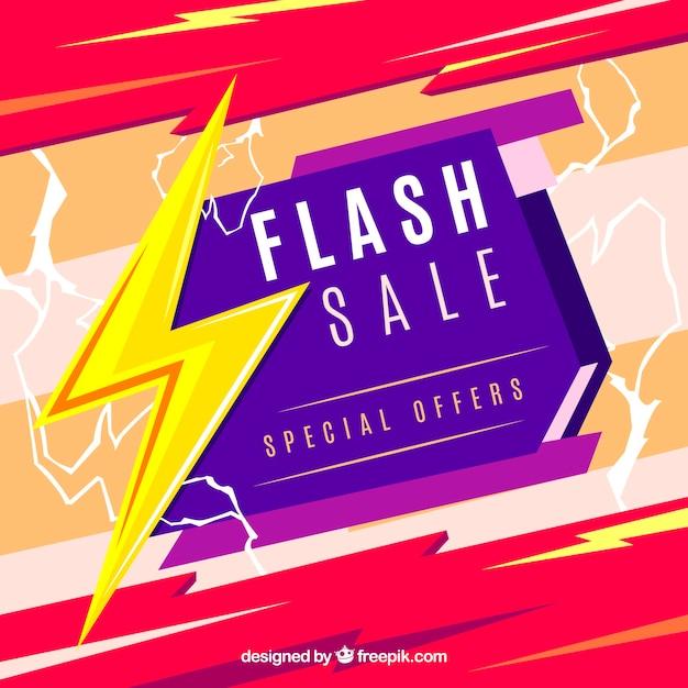 Flash-verkoop achtergrond in vlakke stijl Gratis Vector