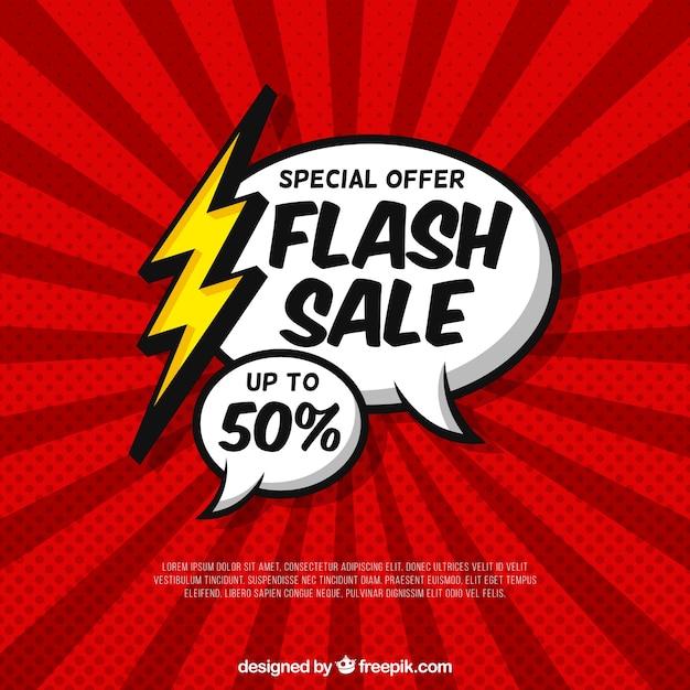 Flash-verkoop achtergrond met komische stijl Gratis Vector