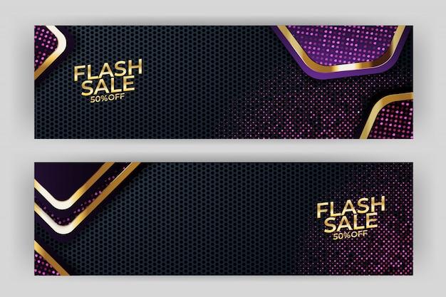Flash verkoop banner met gouden achtergrond stijl premium Premium Vector