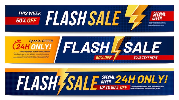 Flash-verkoopbanners. bliksemaanbieding verkoop, alleen nu aanbiedingen en kortingen biedt bliksemschichten banner lay-out vector illustratie set Premium Vector