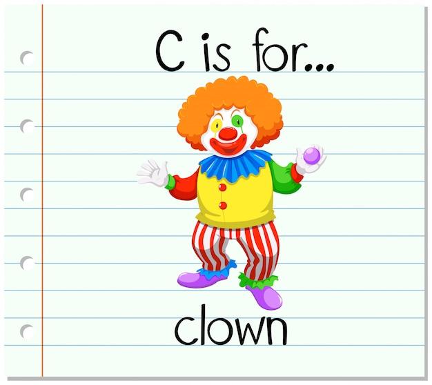 Flashcard letter c is voor clown Premium Vector