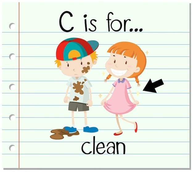 Flashcard letter c is voor schoon Gratis Vector