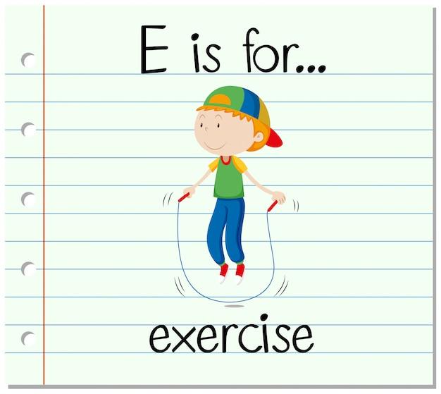 Flashcard letter e is voor oefening Gratis Vector