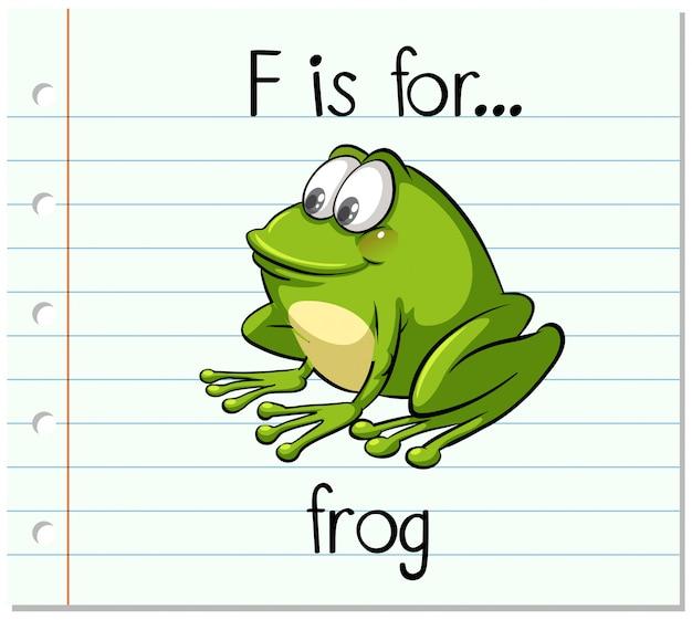 Flashcard letter f is voor kikker Gratis Vector