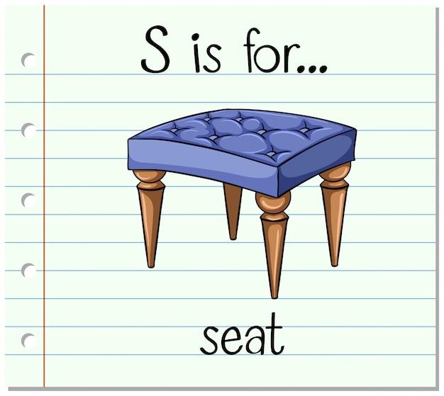 Flashcard letter s is voor stoel Gratis Vector