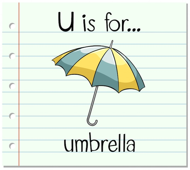 Flashcard letter u is voor paraplu Gratis Vector