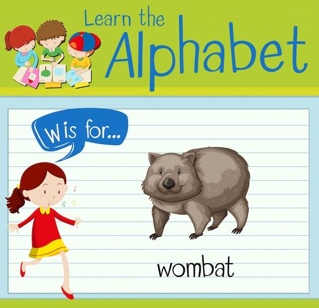 Flashcardletter w is voor wombat Premium Vector