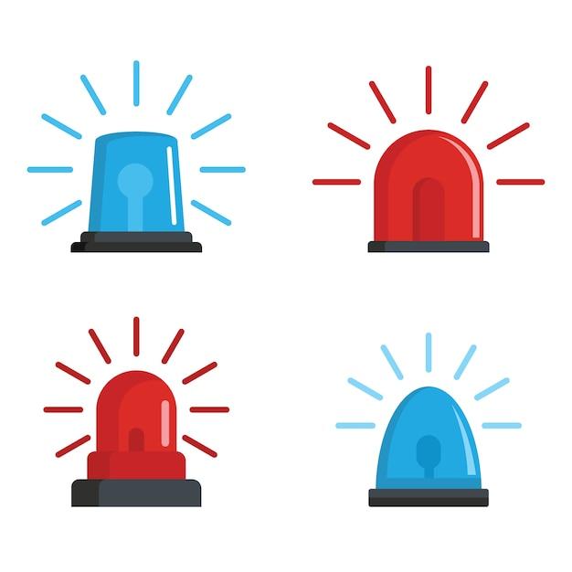 Flasher sirene rode en blauwe pictogrammen instellen Premium Vector