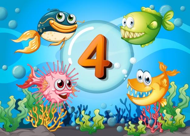 Flashkaart nummer 4 met 4 vissen onder water Gratis Vector