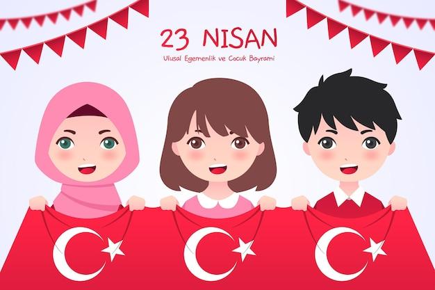 Flat 23 nisan illustratie Gratis Vector