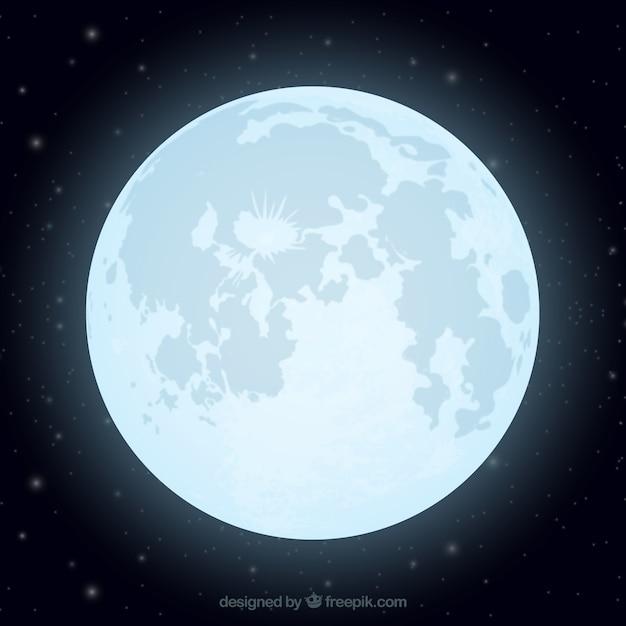 Flat achtergrond van glanzende maan Gratis Vector
