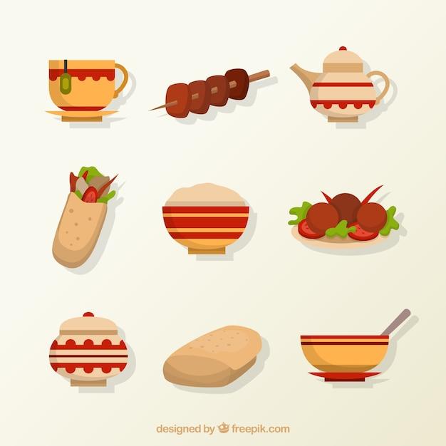 Flat arabische voedsel menu's Gratis Vector