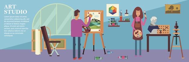Flat art studio banner met werkende mannelijke en vrouwelijke kunstenaars sculpturen schildersezel schilderen en tekenen tools Gratis Vector
