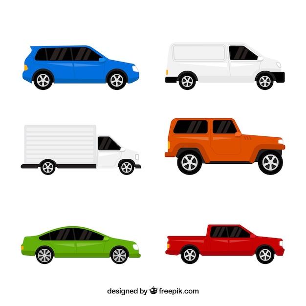 Flat Assortiment Van Gekleurde Auto S Gratis Vector