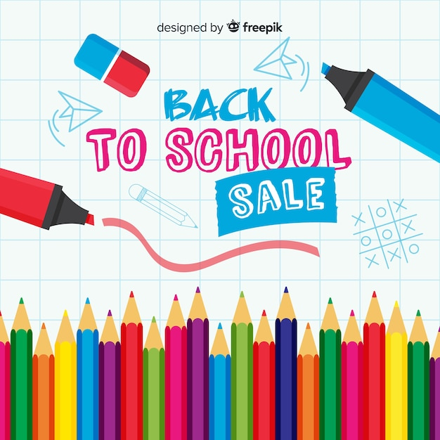 Flat back to school sales Gratis Vector